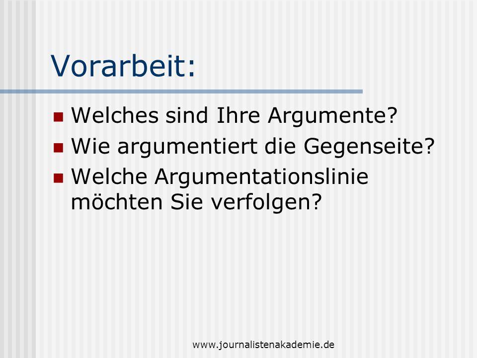 Vorarbeit: Welches sind Ihre Argumente