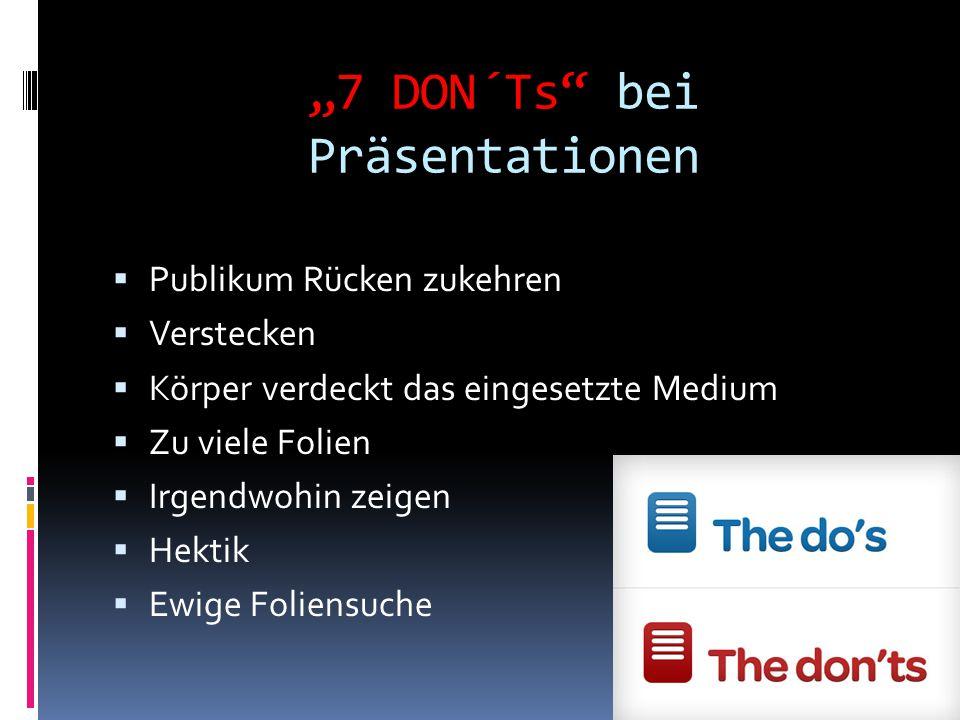 """""""7 DON´Ts bei Präsentationen"""