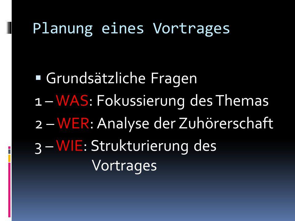 Planung eines Vortrages