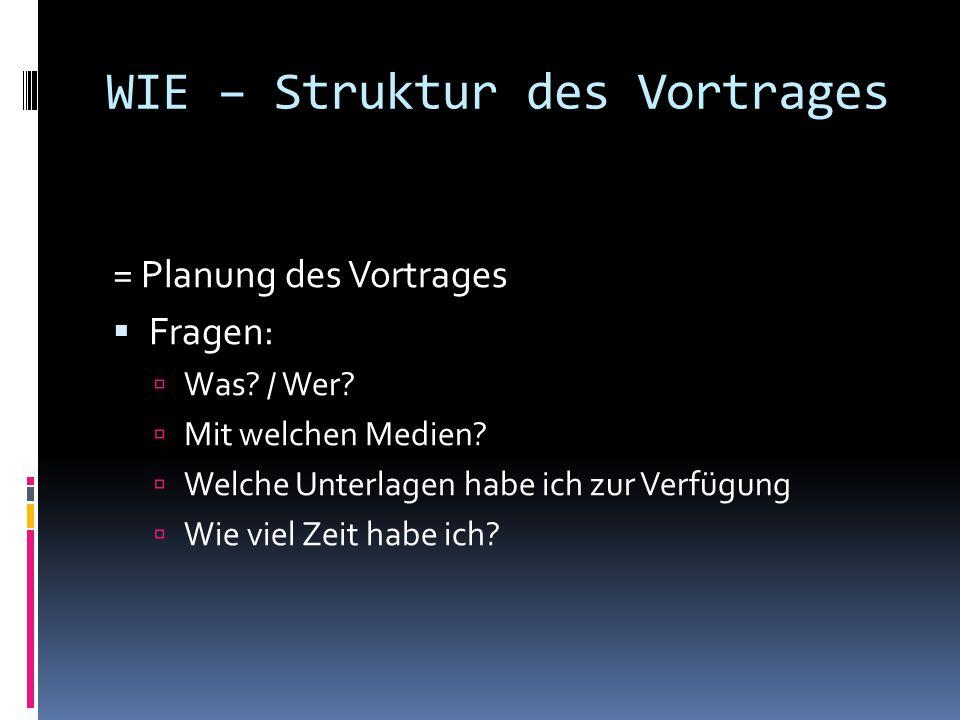 WIE – Struktur des Vortrages