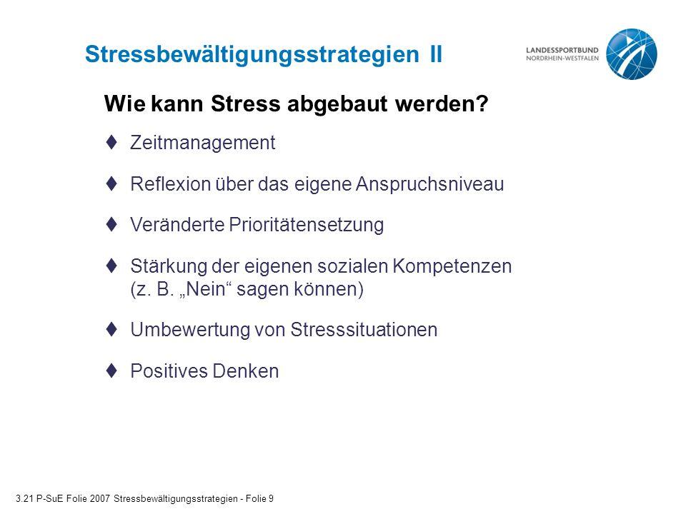 Stressbewältigungsstrategien II
