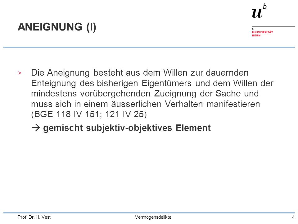 ANEIGNUNG (I)  gemischt subjektiv-objektives Element