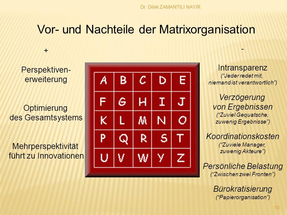 Vor- und Nachteile der Matrixorganisation