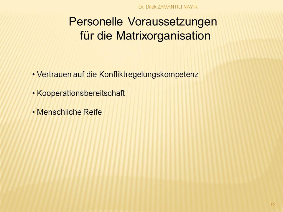Personelle Voraussetzungen für die Matrixorganisation