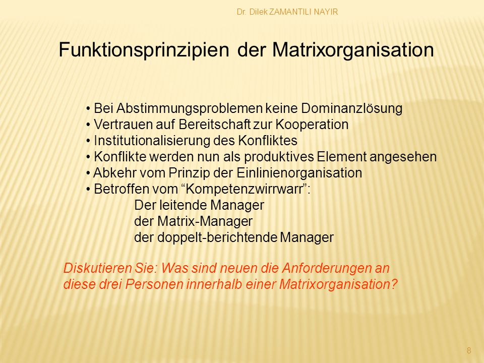Funktionsprinzipien der Matrixorganisation