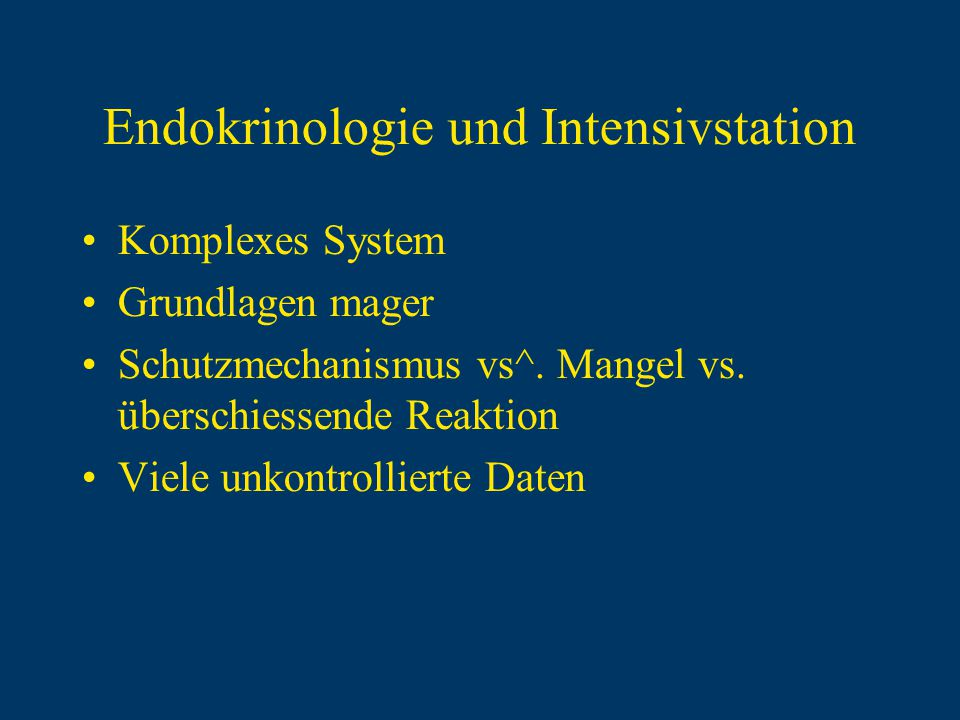 Endokrinologie und Intensivstation