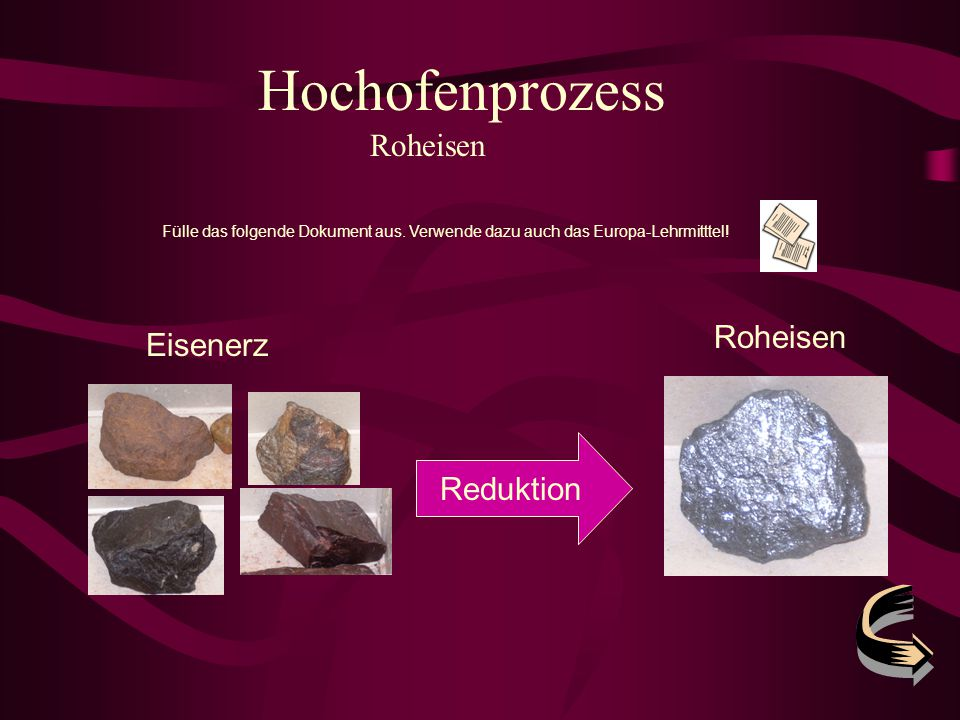 Hochofenprozess Roheisen Roheisen Eisenerz Reduktion