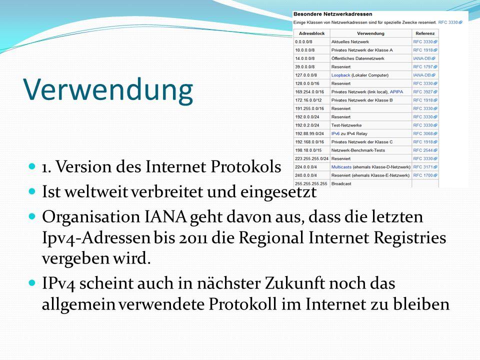 Verwendung 1. Version des Internet Protokols