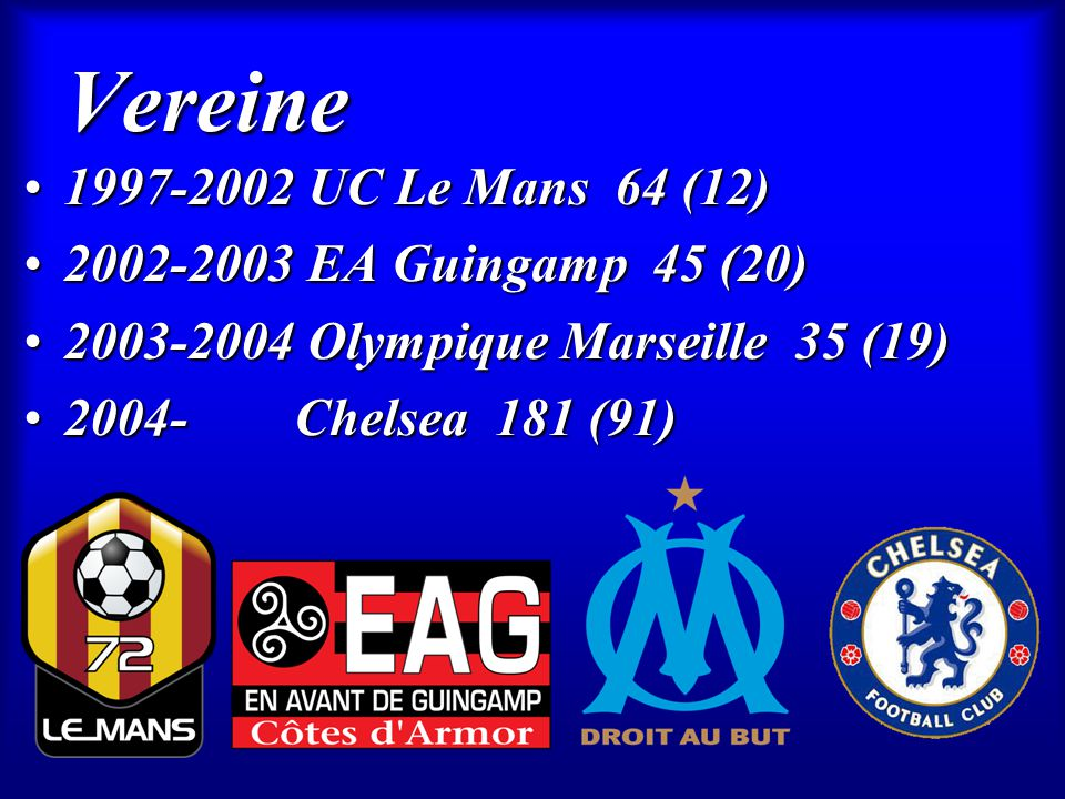 Vereine 1997-2002 UC Le Mans 64 (12) 2002-2003 EA Guingamp 45 (20)