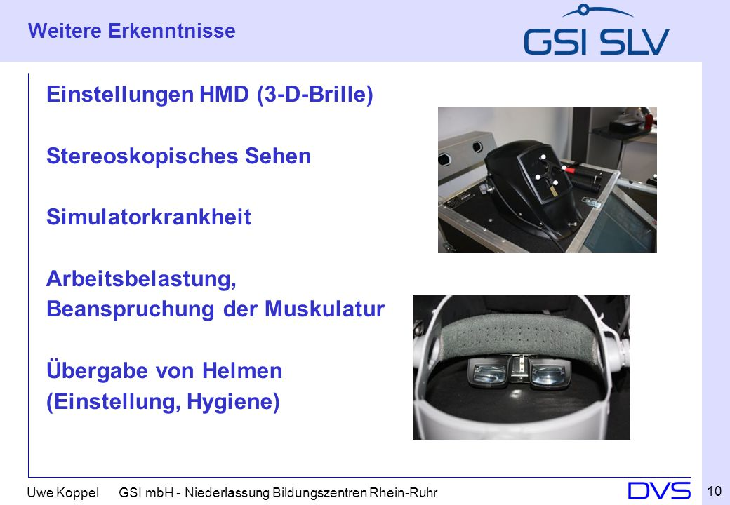 Einstellungen HMD (3-D-Brille) Stereoskopisches Sehen