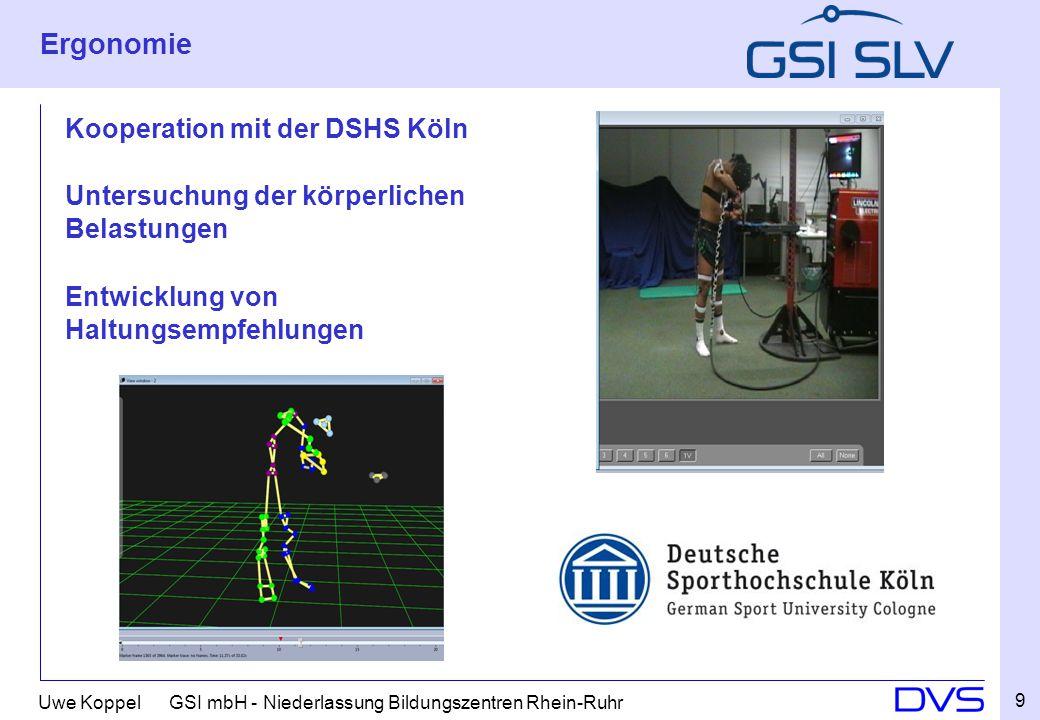 Ergonomie Kooperation mit der DSHS Köln Untersuchung der körperlichen