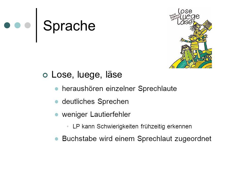 Sprache Lose, luege, läse heraushören einzelner Sprechlaute