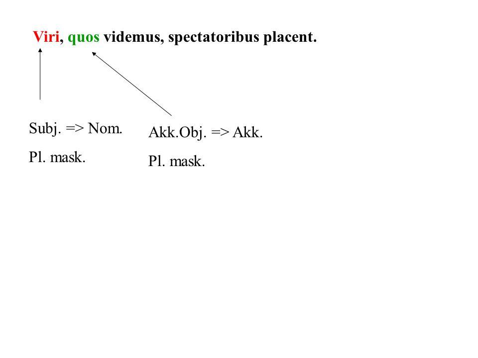 Viri, quos videmus, spectatoribus placent.