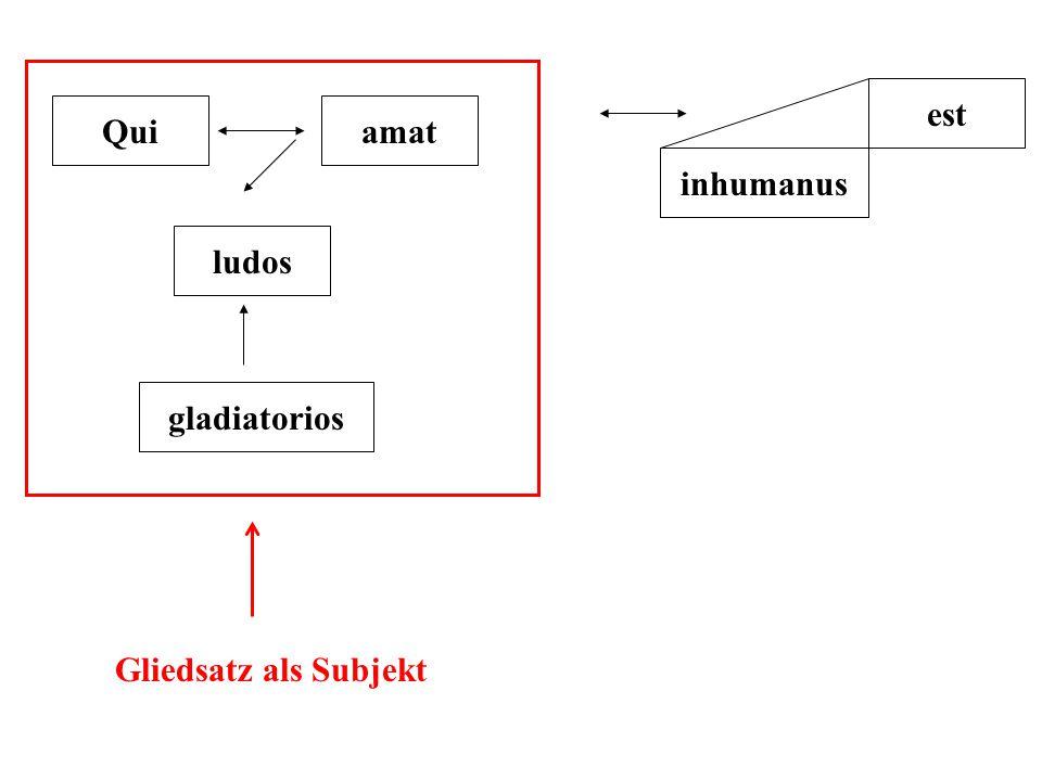 est Qui amat inhumanus ludos gladiatorios Gliedsatz als Subjekt