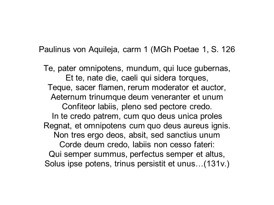 Paulinus von Aquileja, carm 1 (MGh Poetae 1, S
