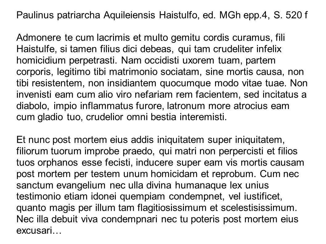 Paulinus patriarcha Aquileiensis Haistulfo, ed. MGh epp. 4, S