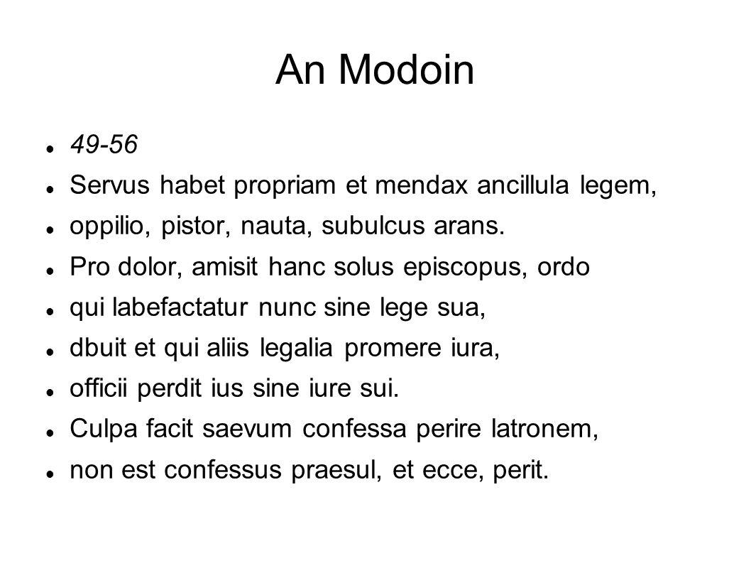 An Modoin 49-56 Servus habet propriam et mendax ancillula legem,