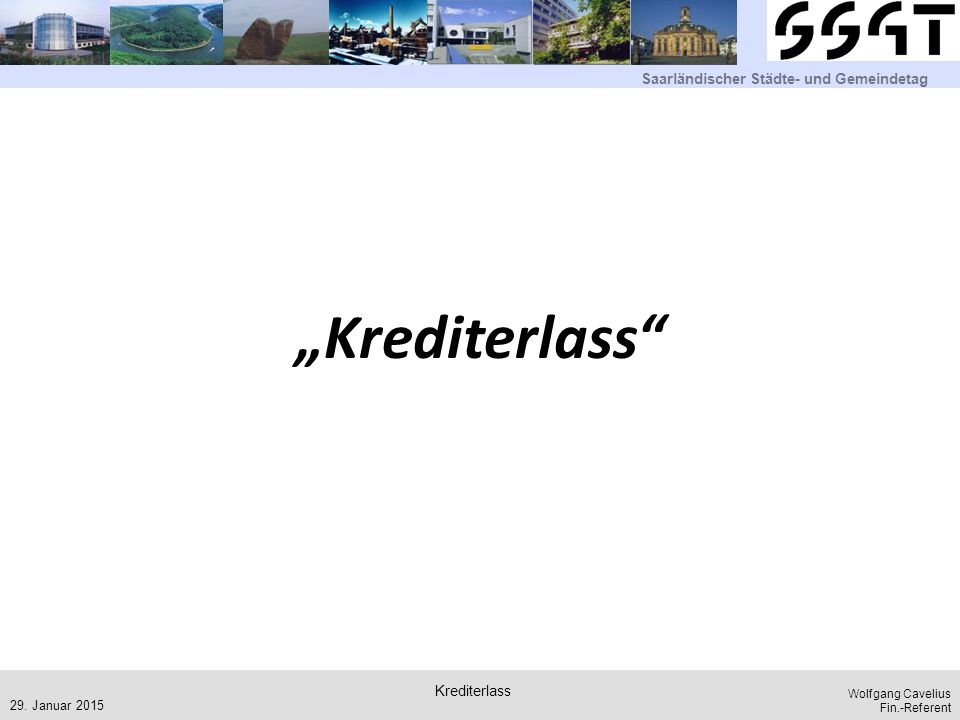 """Krediterlass Krediterlass 29. Januar 2015"