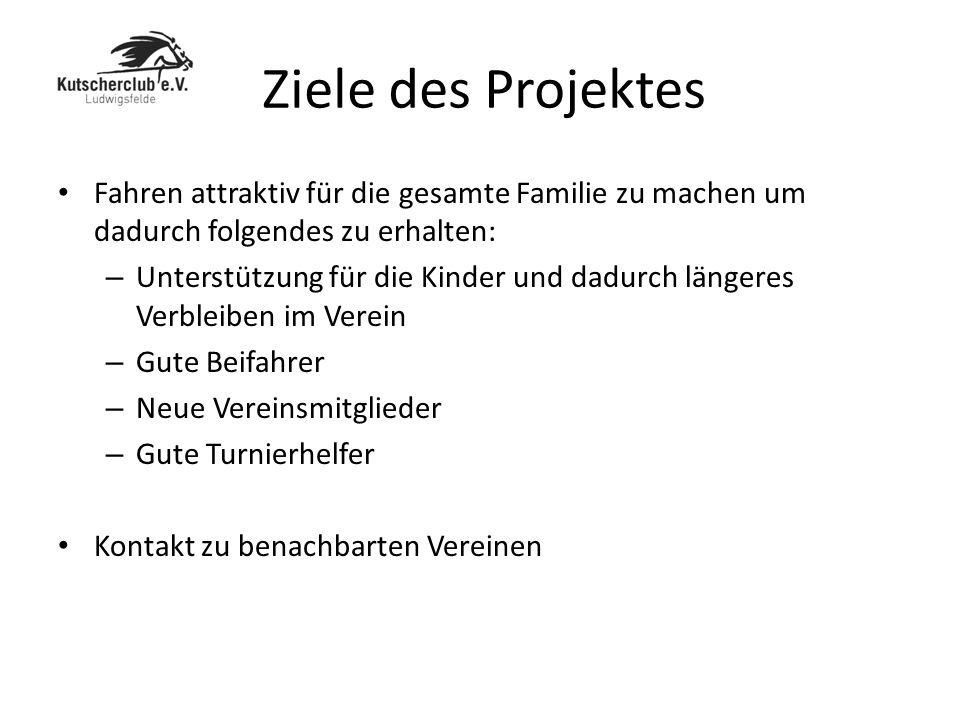 Ziele des Projektes Fahren attraktiv für die gesamte Familie zu machen um dadurch folgendes zu erhalten: