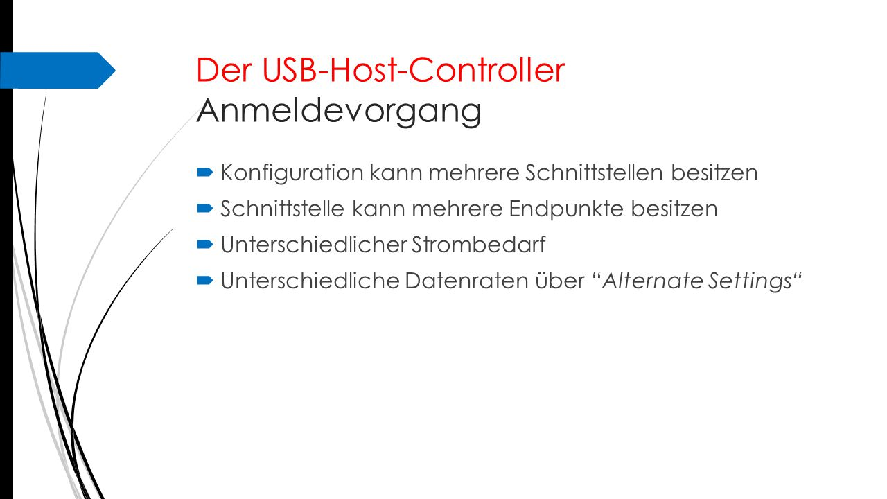 Der USB-Host-Controller Anmeldevorgang