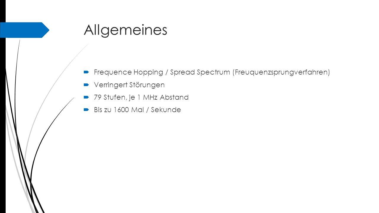 Allgemeines Frequence Hopping / Spread Spectrum (Freuquenzsprungverfahren) Verringert Störungen. 79 Stufen, je 1 MHz Abstand.