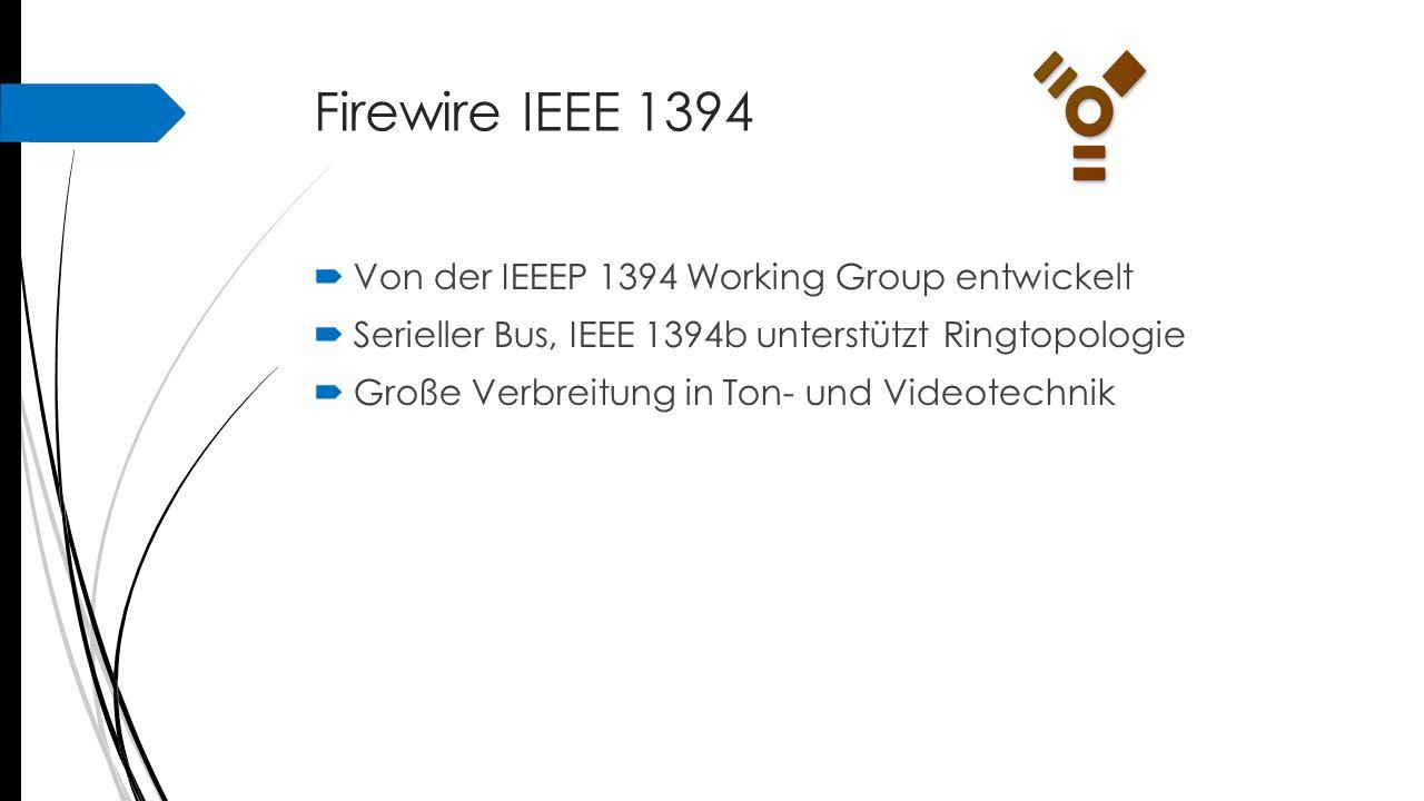 Firewire IEEE 1394 Von der IEEEP 1394 Working Group entwickelt