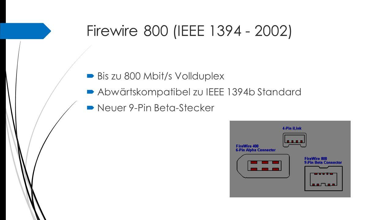 Firewire 800 (IEEE 1394 - 2002) Bis zu 800 Mbit/s Vollduplex