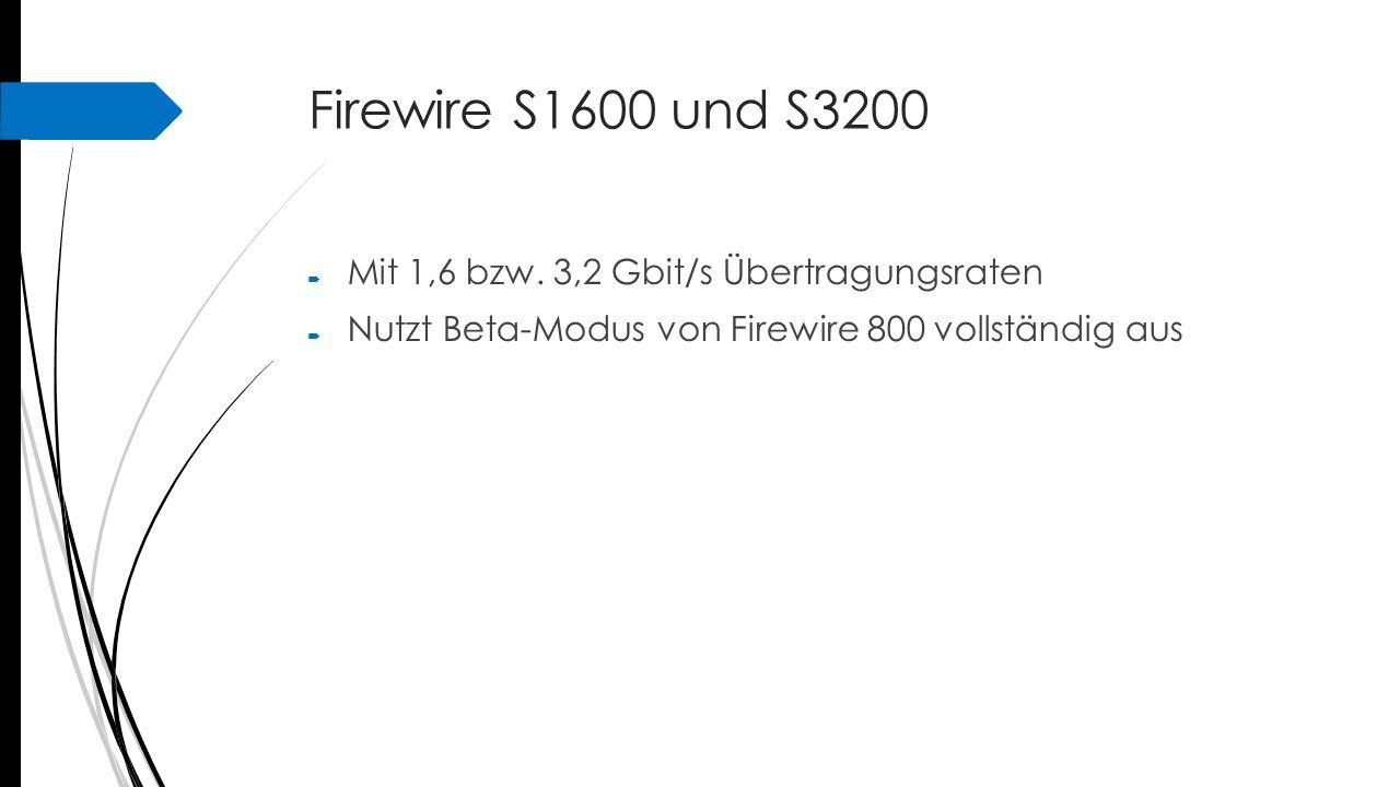 Firewire S1600 und S3200 Mit 1,6 bzw. 3,2 Gbit/s Übertragungsraten