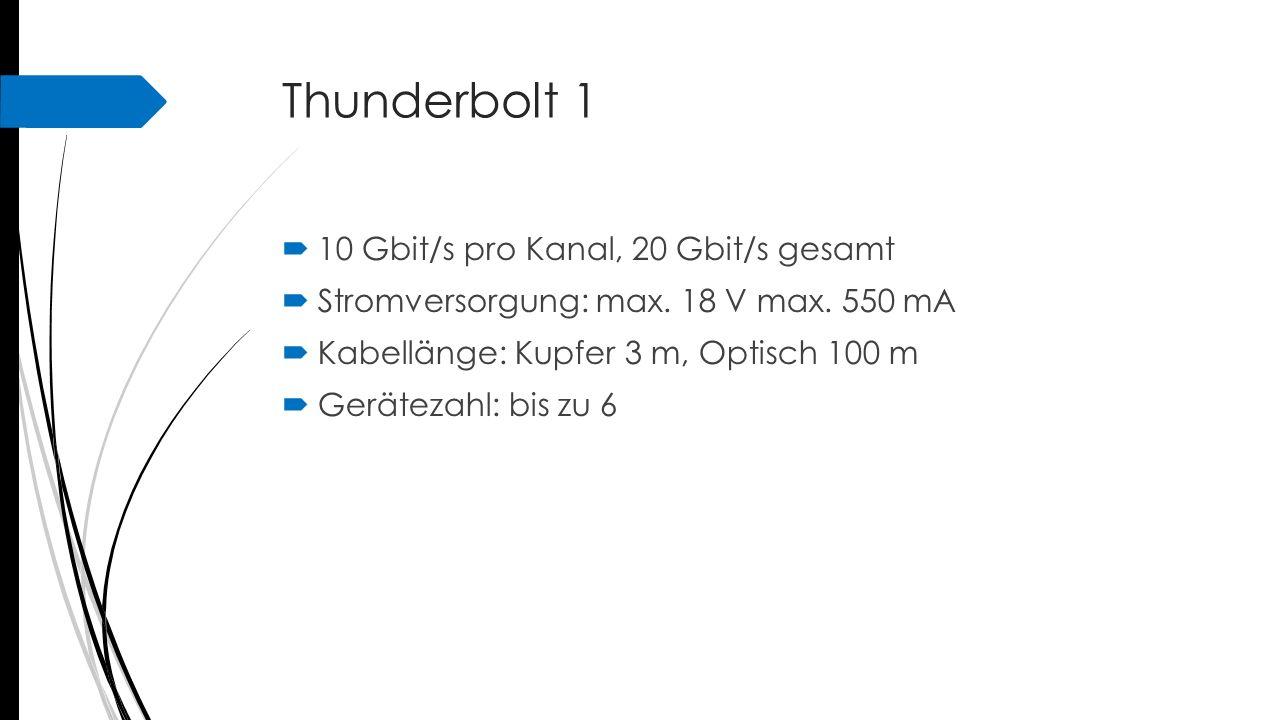 Thunderbolt 1 10 Gbit/s pro Kanal, 20 Gbit/s gesamt