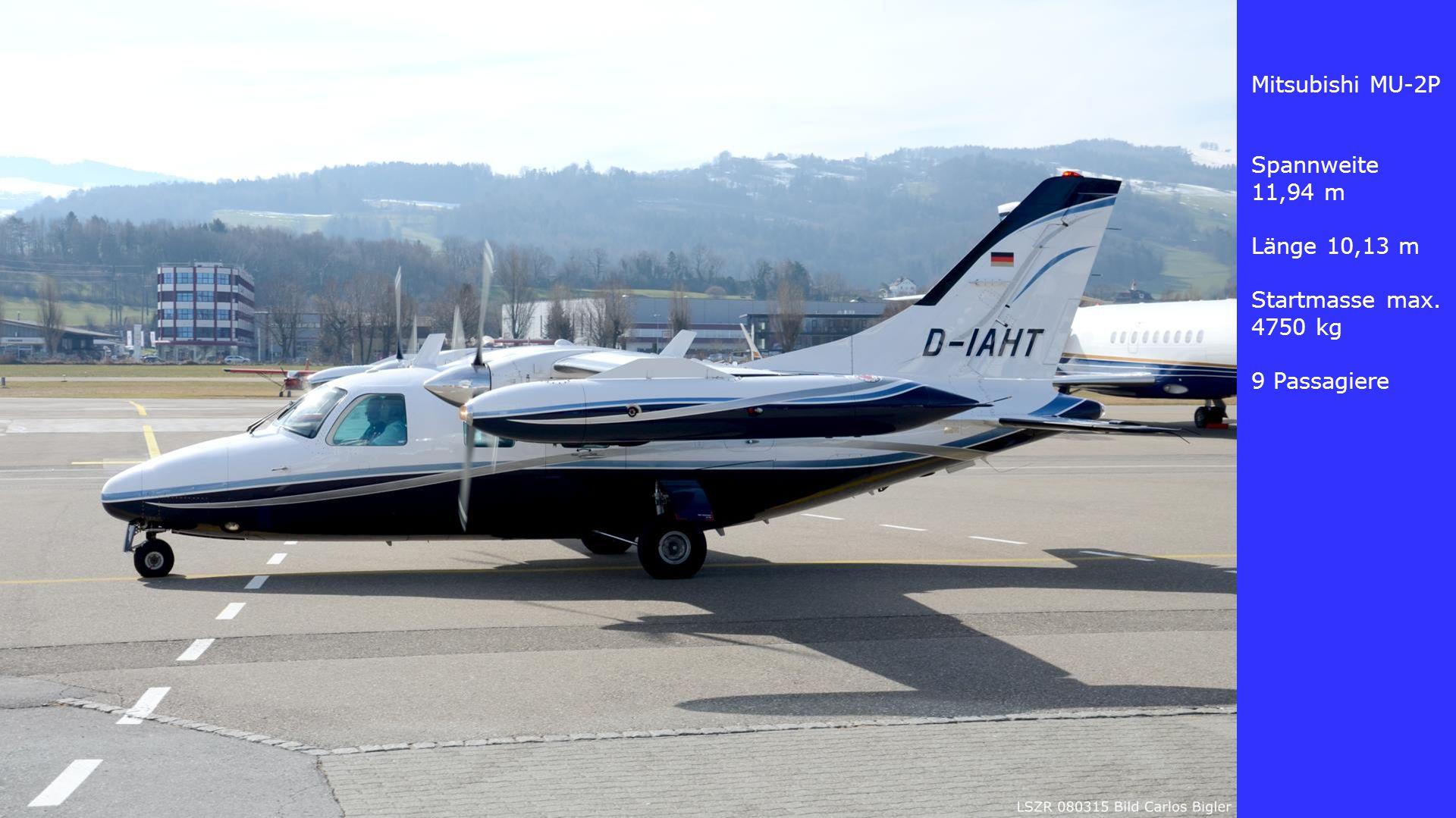 Mitsubishi MU-2P Spannweite 11,94 m Länge 10,13 m Startmasse max