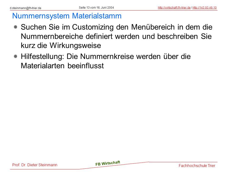 Nummernsystem Materialstamm