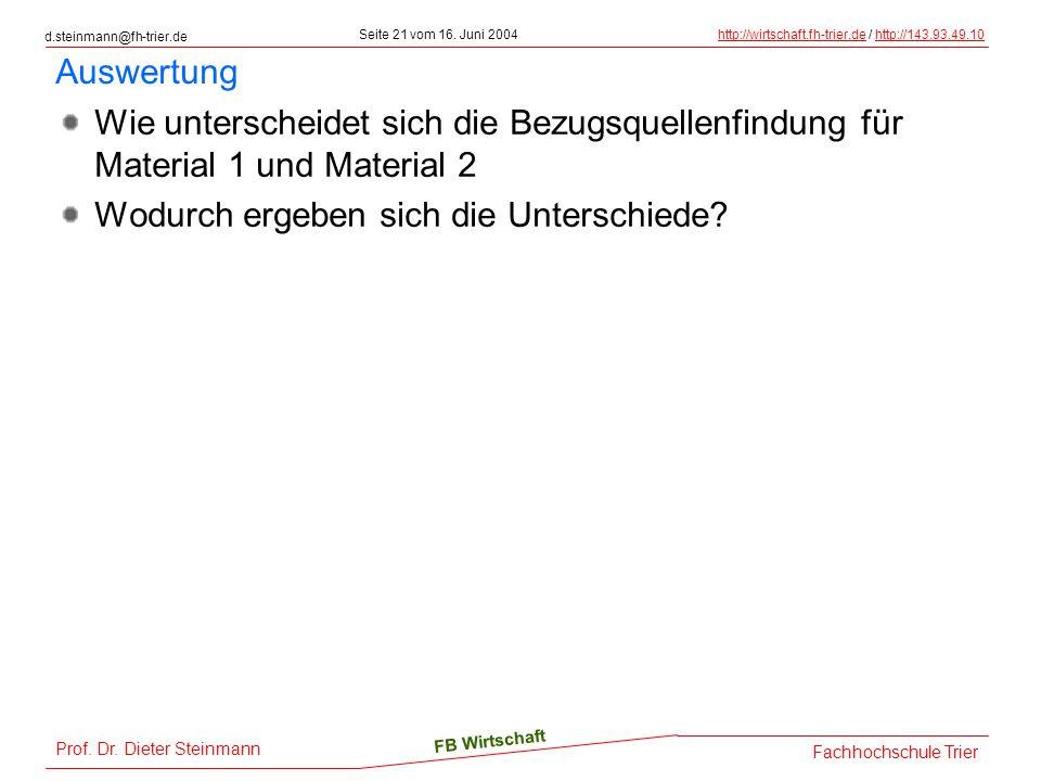 Auswertung Wie unterscheidet sich die Bezugsquellenfindung für Material 1 und Material 2.