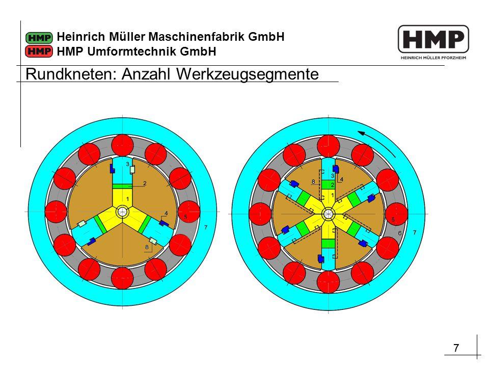 Rundkneten: Anzahl Werkzeugsegmente