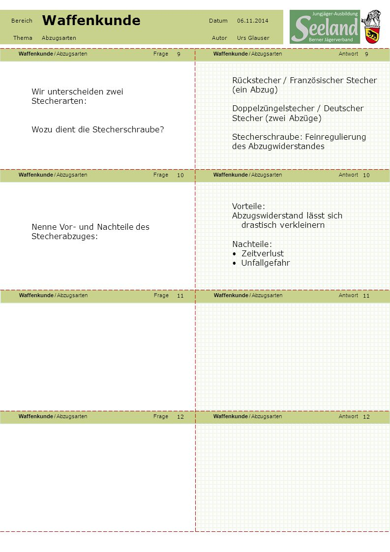 Rückstecher / Französischer Stecher (ein Abzug)