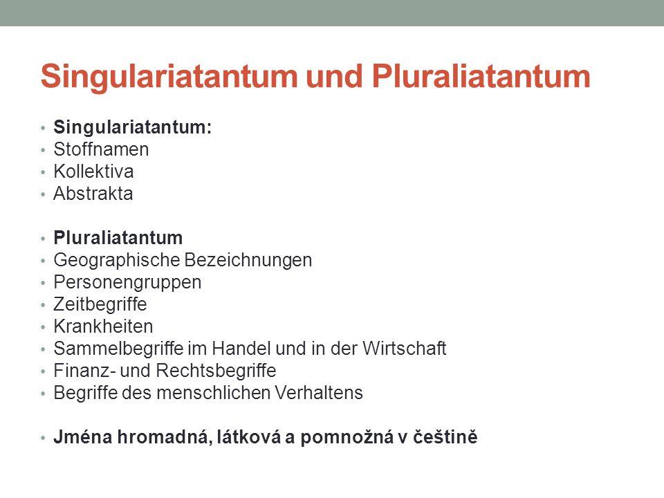 Singulariatantum und Pluraliatantum