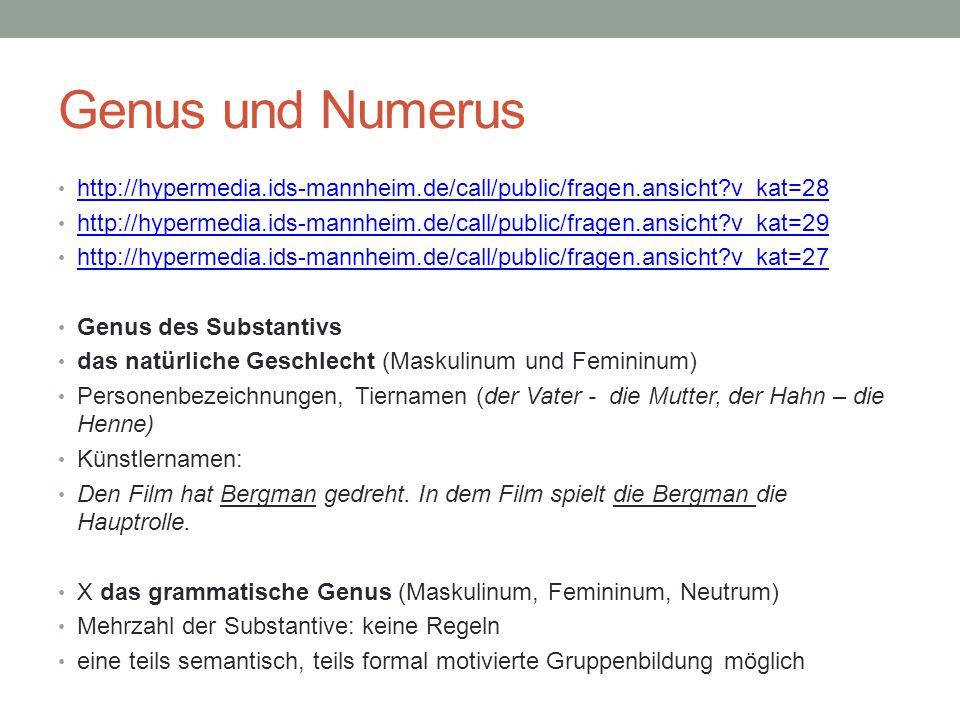 Genus und Numerus http://hypermedia.ids-mannheim.de/call/public/fragen.ansicht v_kat=28.