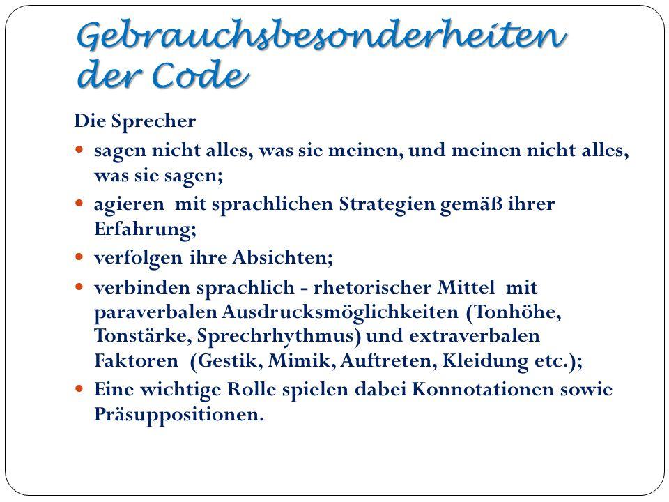 Gebrauchsbesonderheiten der Code