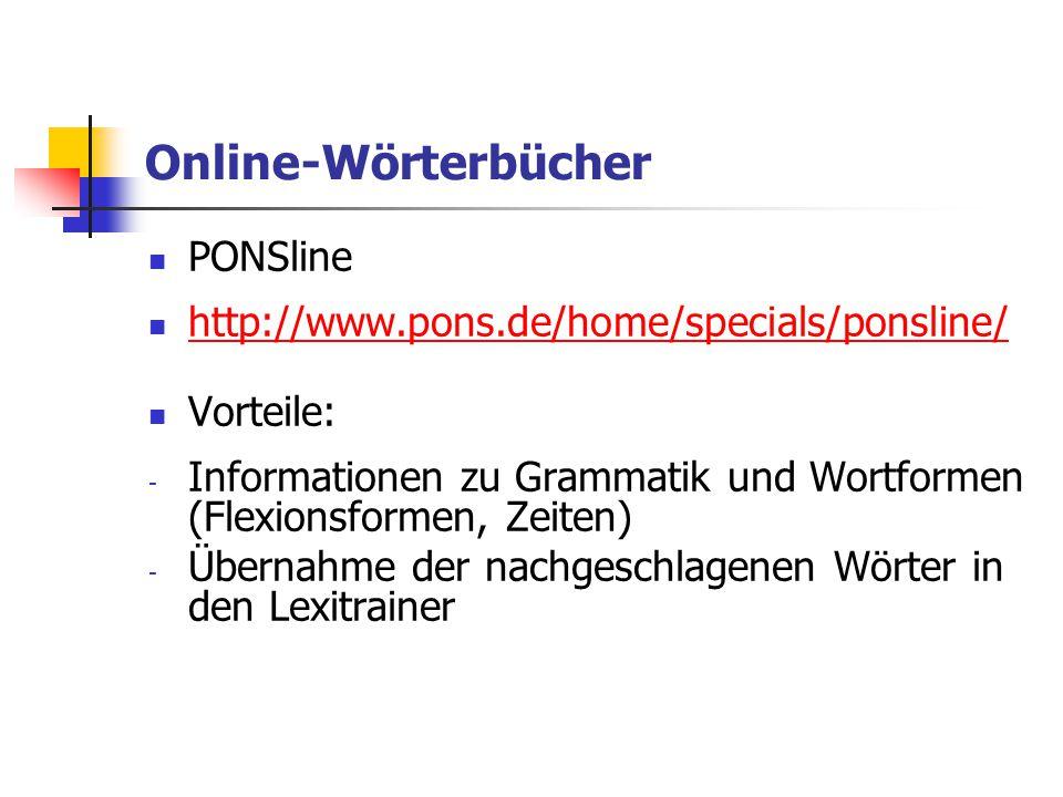 Online-Wörterbücher PONSline