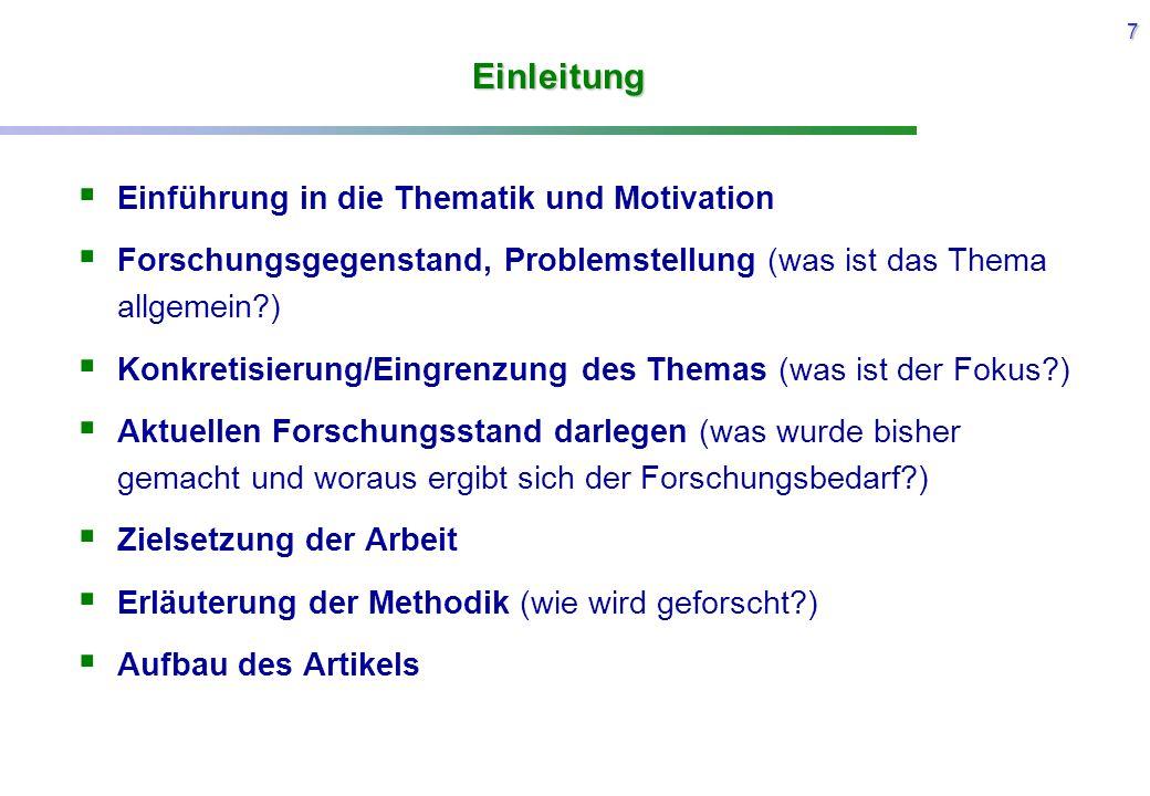 Einleitung Einführung in die Thematik und Motivation