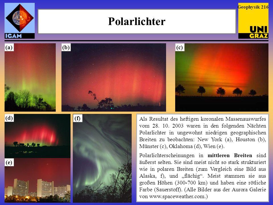 Polarlichter (a) (b) (c) (d) (f) (e)