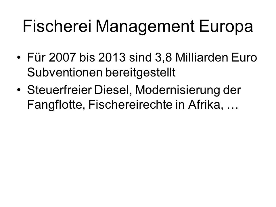 Fischerei Management Europa