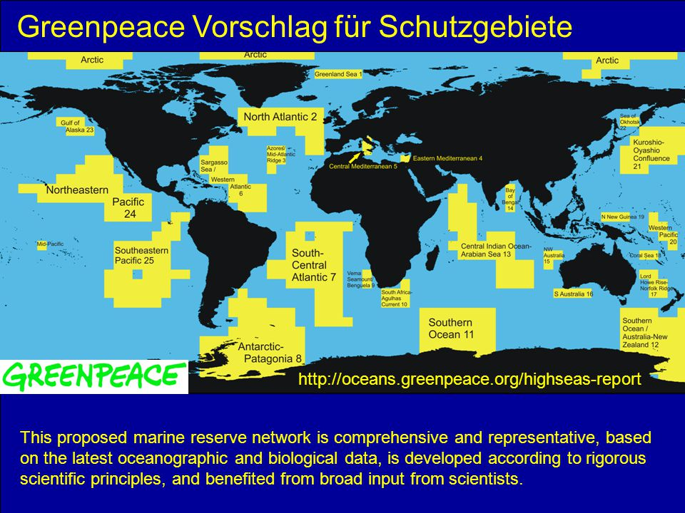 Greenpeace Vorschlag für Schutzgebiete
