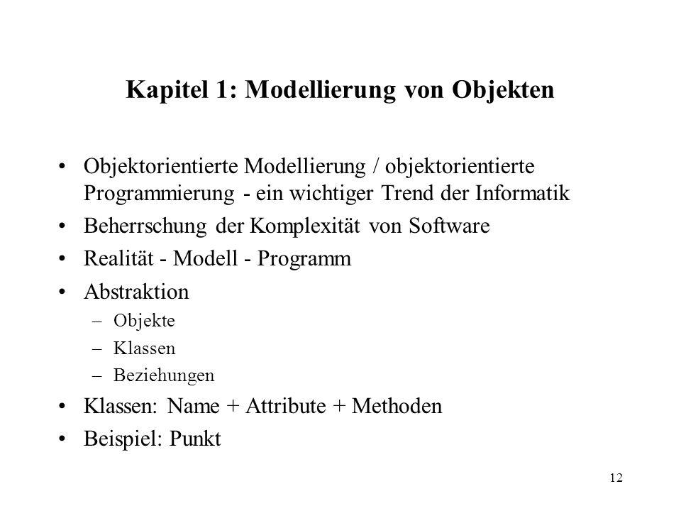 Kapitel 1: Modellierung von Objekten