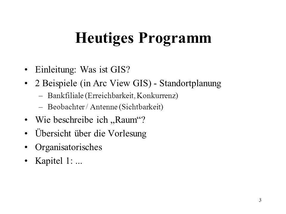 Heutiges Programm Einleitung: Was ist GIS
