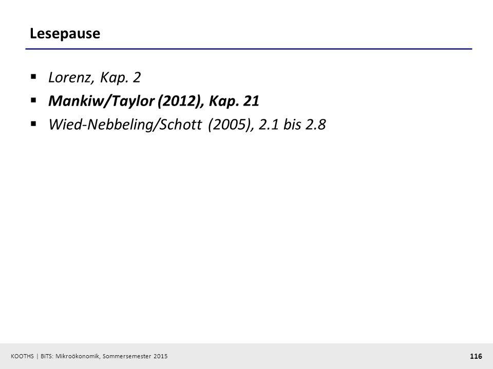 Lesepause Lorenz, Kap. 2 Mankiw/Taylor (2012), Kap. 21 Wied-Nebbeling/Schott (2005), 2.1 bis 2.8