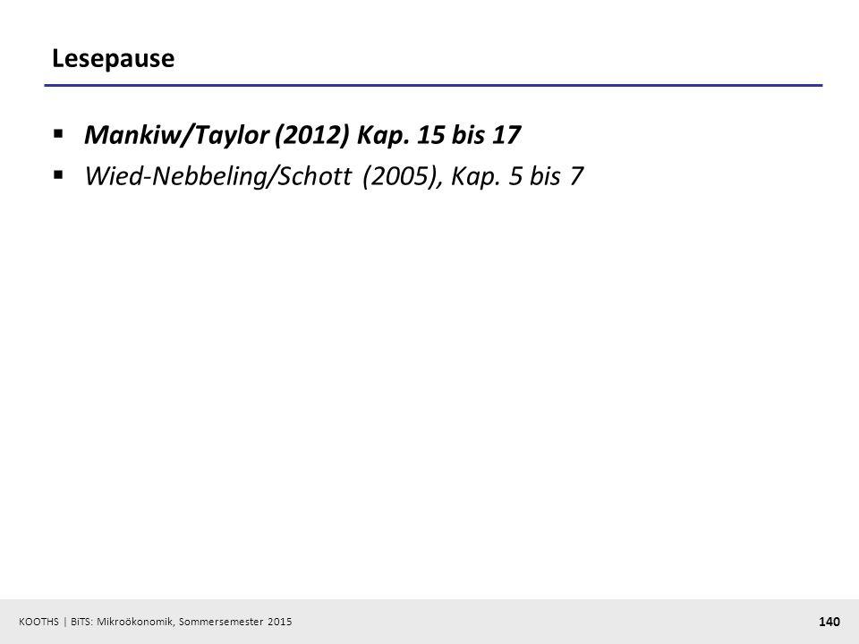 Lesepause Mankiw/Taylor (2012) Kap. 15 bis 17 Wied-Nebbeling/Schott (2005), Kap. 5 bis 7