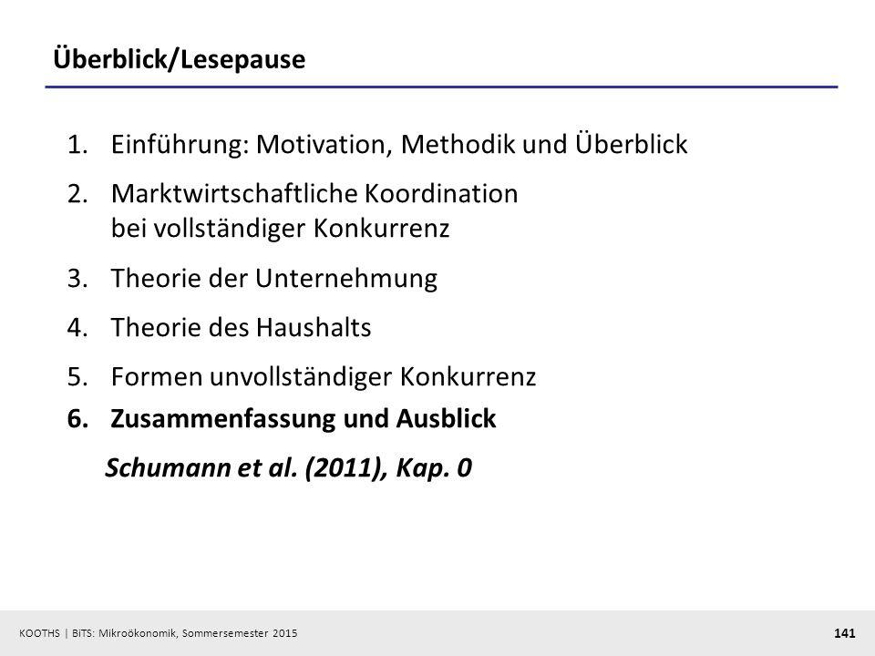 Überblick/Lesepause Einführung: Motivation, Methodik und Überblick. Marktwirtschaftliche Koordination bei vollständiger Konkurrenz.