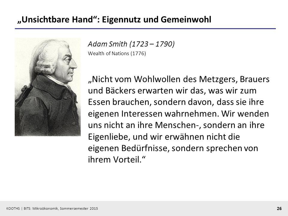 """""""Unsichtbare Hand : Eigennutz und Gemeinwohl"""
