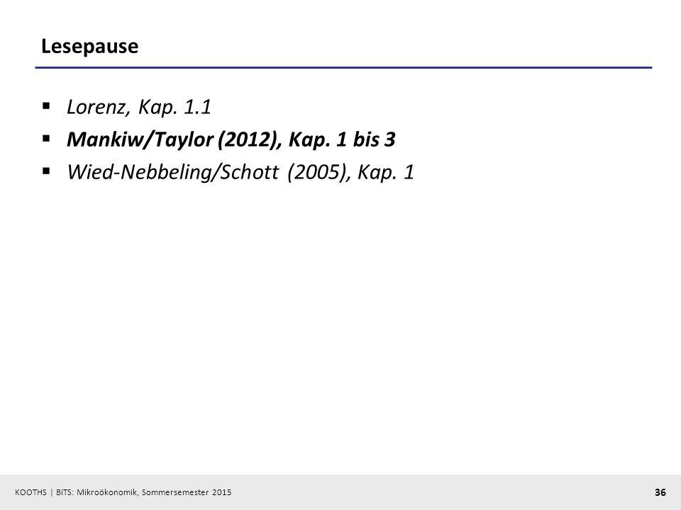 Lesepause Lorenz, Kap. 1.1 Mankiw/Taylor (2012), Kap. 1 bis 3 Wied-Nebbeling/Schott (2005), Kap. 1
