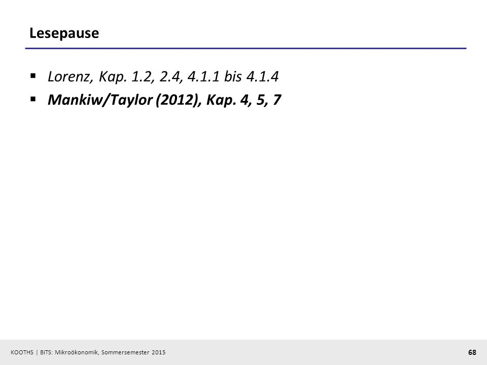 Lesepause Lorenz, Kap. 1.2, 2.4, 4.1.1 bis 4.1.4 Mankiw/Taylor (2012), Kap. 4, 5, 7